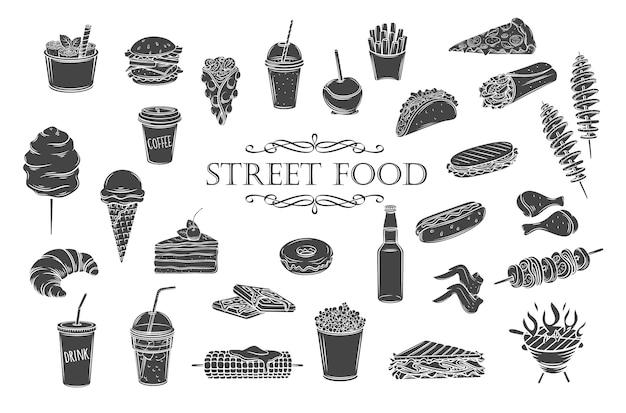 Icone del glifo con cibo di strada. sagome di cibo da asporto, illustrazione per menu caffetteria in stile retrò. Vettore Premium