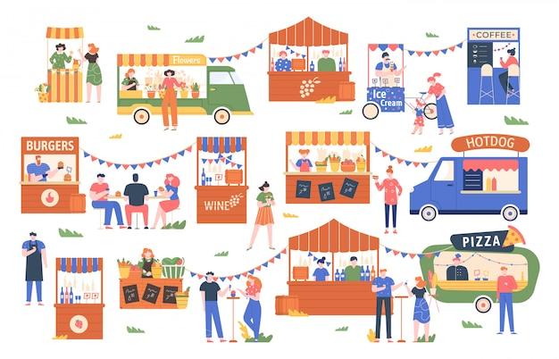 Mercato del cibo di strada. mercato degli agricoltori all'aperto, i personaggi comprano e vendono verdure, pane, fiori e altri prodotti, illustrazione commerciale dello shopping di strada. chioschi locali, stand di venditori di cibo Vettore Premium