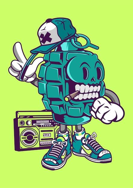 Illustrazione disegnata a mano di street style grenade Vettore Premium