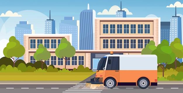 Piano orizzontale del fondo moderno di concetto di paesaggio urbano di concetto di servizio stradale urbano del veicolo di pulizia della macchina del camion dello spazzino Vettore Premium