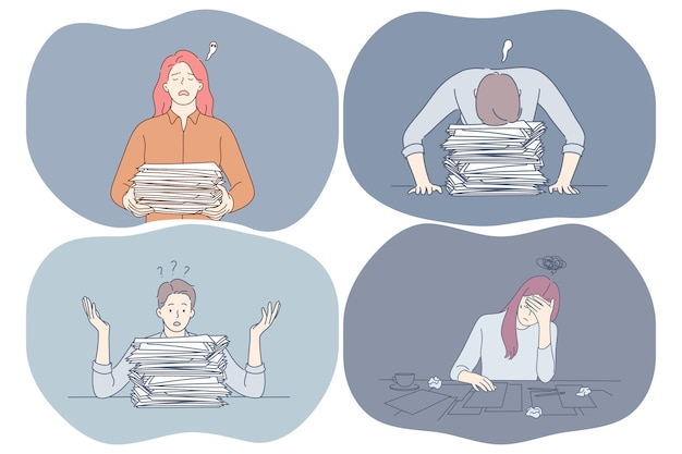 Stress, superlavoro, esaurimento, concetto di sovraccarico. Vettore Premium
