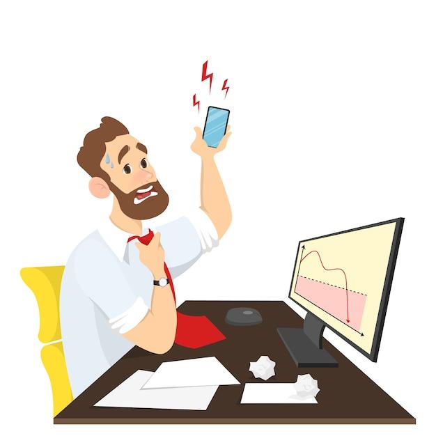 Sottolineato uomo d'affari o impiegato seduto alla scrivania e guardando il grafico cadendo in preda al panico. parlando con il cliente arrabbiato al telefono. in stile cartone animato. Vettore Premium