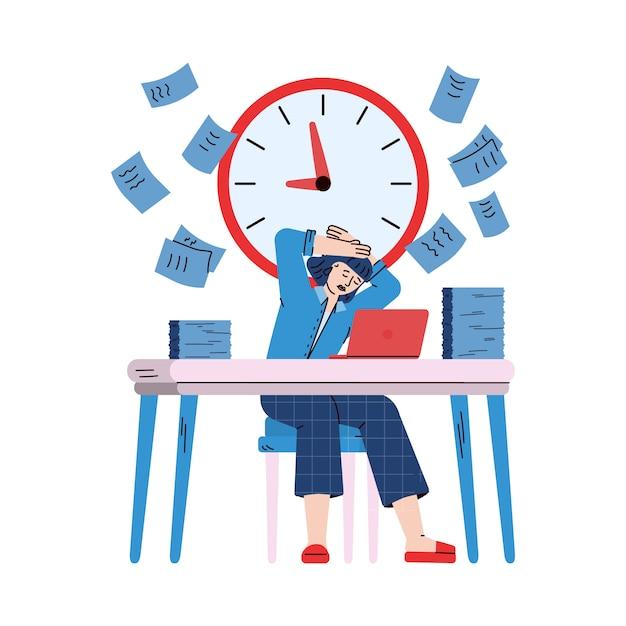 Donna sollecitata e occupata di affari, illustrazione del fumetto di schizzo Vettore Premium