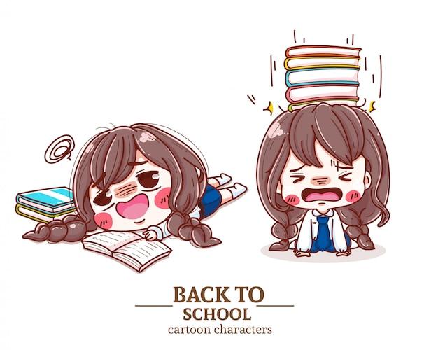 Studente di scuola stressato compilando le risposte all'esame, leggere il libro, torna al logo illustrazione scuola. Vettore Premium