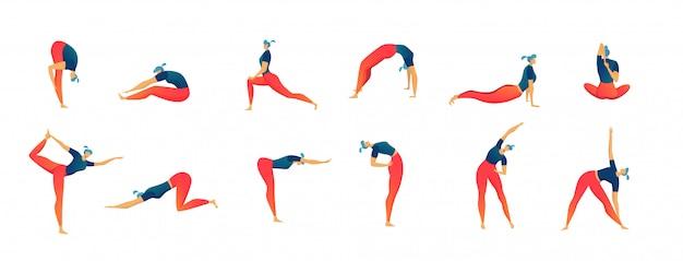 L'allungamento della gente di esercizi ha messo dell'illustrazione isolata, allenamento e forma fisica dell'uomo e della donna. Vettore Premium
