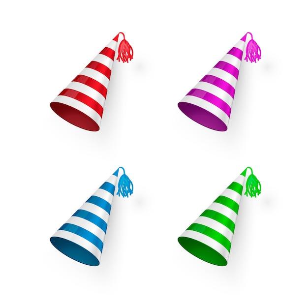 Set di cappelli di compleanno a strisce Vettore Premium