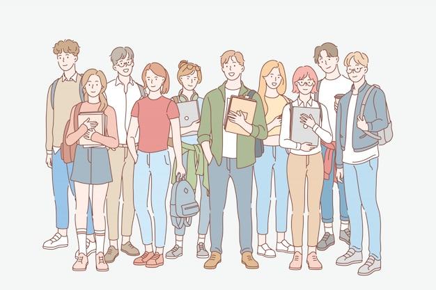 Studente, educazione, studio, concetto stabilito del college Vettore Premium