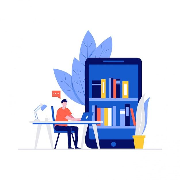 Studente che studia a casa concetto con personaggi. libreria digitale online su smartphone. Vettore Premium