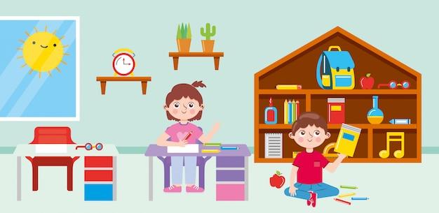 Studenti in aula con banchi scuola forniture giocattoli e biblioteca in legno. di nuovo a scuola. illustrazione Vettore Premium