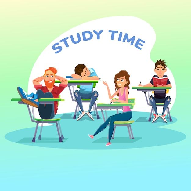 Studenti in lezione all'università o a scuola Vettore Premium