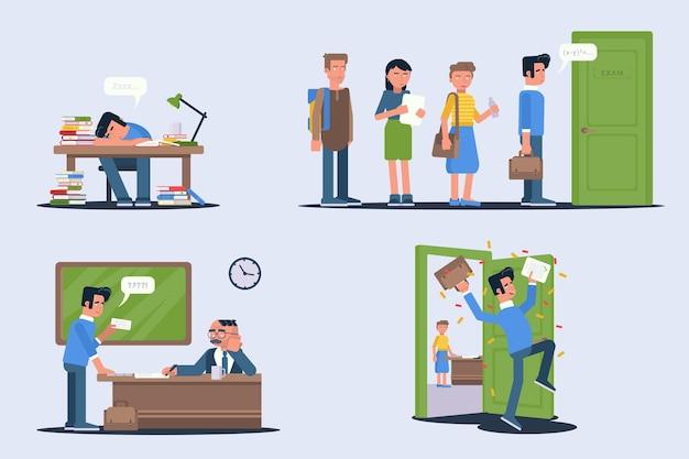 Set di illustrazioni per gli studenti che superano gli esami Vettore Premium