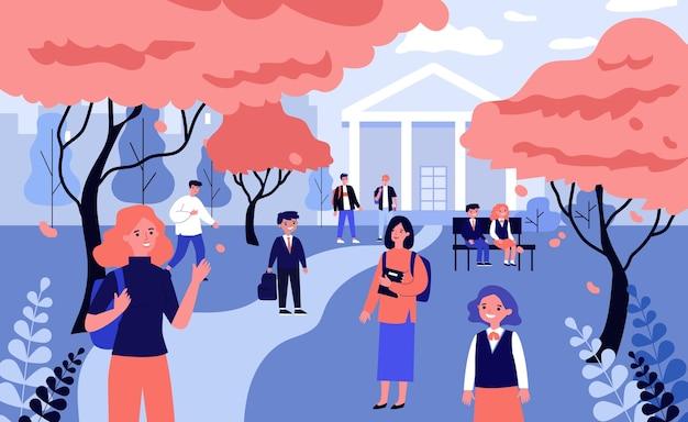 Studenti nel cortile della scuola. bambini e adolescenti che camminano tra alberi rossi e illustrazione di edificio scolastico. autunno, torna al concetto di scuola per banner, sito web o pagina web di destinazione Vettore Premium