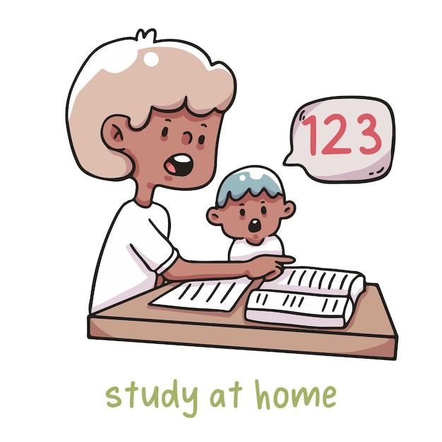 Studia a casa l'apprendimento dei bambini Vettore Premium