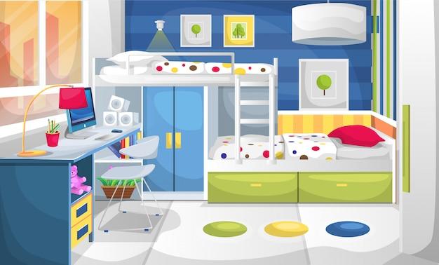 Studio E Camera Da Letto Per Bambini Con Computer Da Tavolo Scrivania Pittura Murale Scrivania Armadio E Letto A Castello Vettore Premium