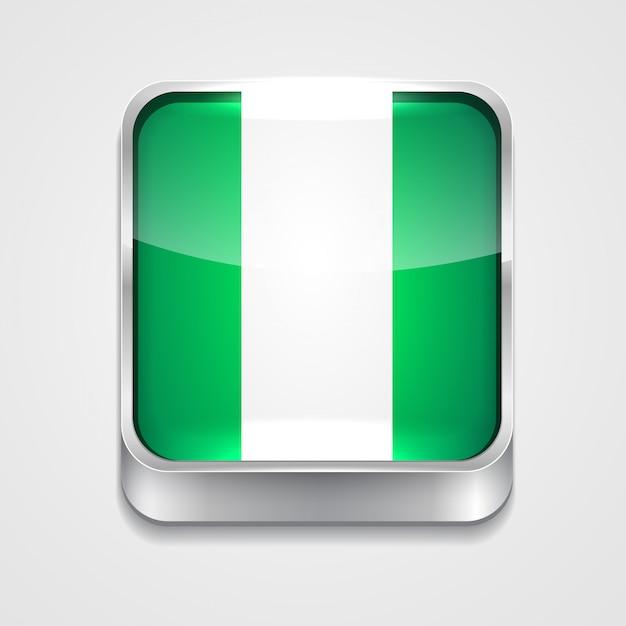 Icona della bandiera di stile della nigeria Vettore Premium