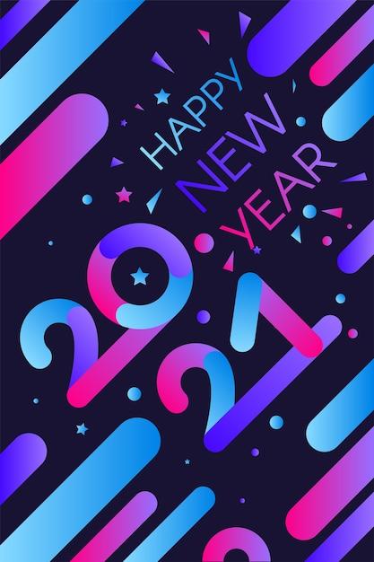 Elegante poster di felice anno nuovo Vettore Premium