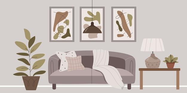 Interni eleganti nei colori grigio-marrone. Vettore Premium