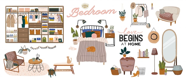 Elegante interno della camera da letto scandinava: letto, divano, armadio, specchio, comodino, pianta, lampada, decorazioni per la casa. accogliente appartamento moderno e confortevole arredato in stile hygge. illustrazione. Vettore Premium
