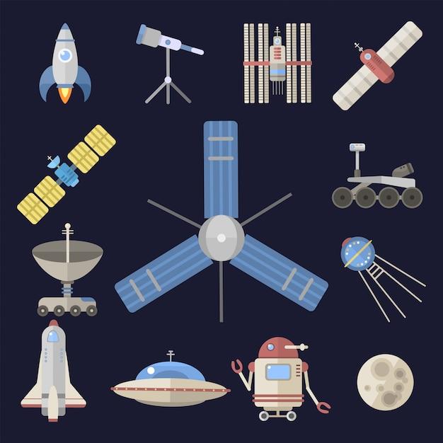 Elegante astronave costellazione astrologia radar cosmo universo tecnologia meteor scienza navetta astronauta razzo satellitare. Vettore Premium