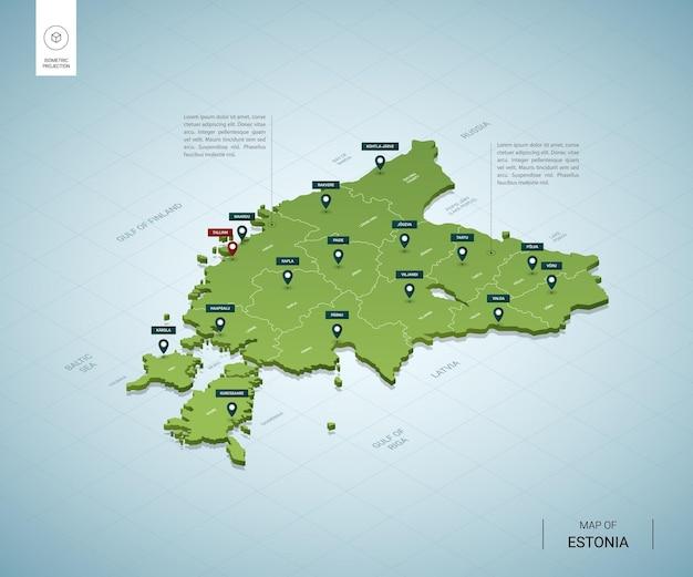 Mappa stilizzata dell'estonia. Vettore Premium