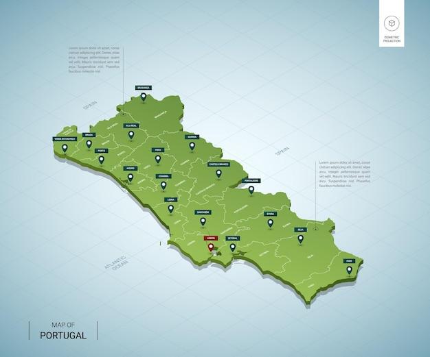 Cartina Politica Portogallo Con Regioni.Mappa Stilizzata Del Portogallo Mappa Verde Isometrica 3d Con Citta Confini Capitale Lisbona Regioni Vettore Premium