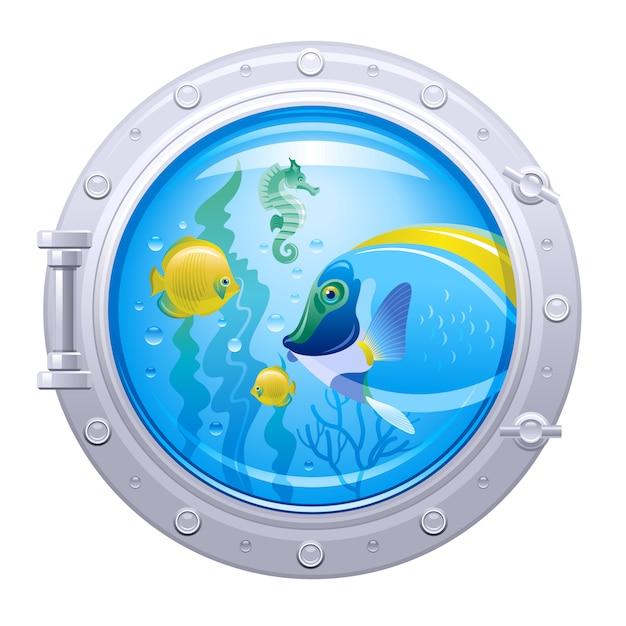 Oblò sottomarino con vita sottomarina colorata, cavalluccio marino e pesci tropicali, isolati. Vettore Premium