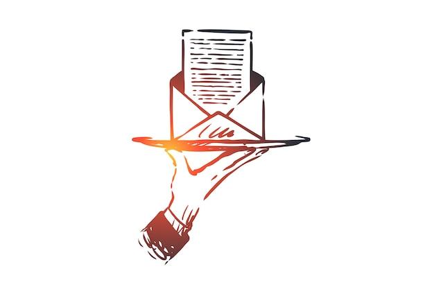Iscriviti, newsletter, posta, internet, concetto di comunicazione. schizzo di concetto di busta lettera disegnata a mano. Vettore Premium