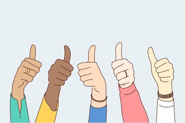Concetto di multietnicità raggiungimento obiettivo di approvazione di successo. Vettore Premium