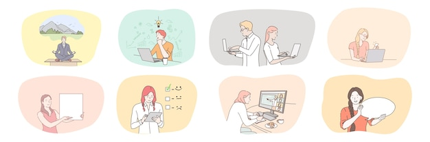 Lavoro di squadra di comunicazione di meditazione di brainstorming aziendale di successo Vettore Premium