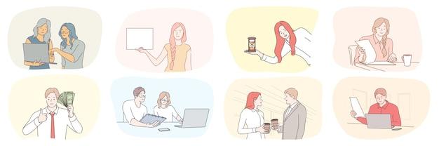 Gestione del tempo del piano aziendale di successo, concetto stabilito di lavoro di squadra di ricchezza di comunicazione. Vettore Premium