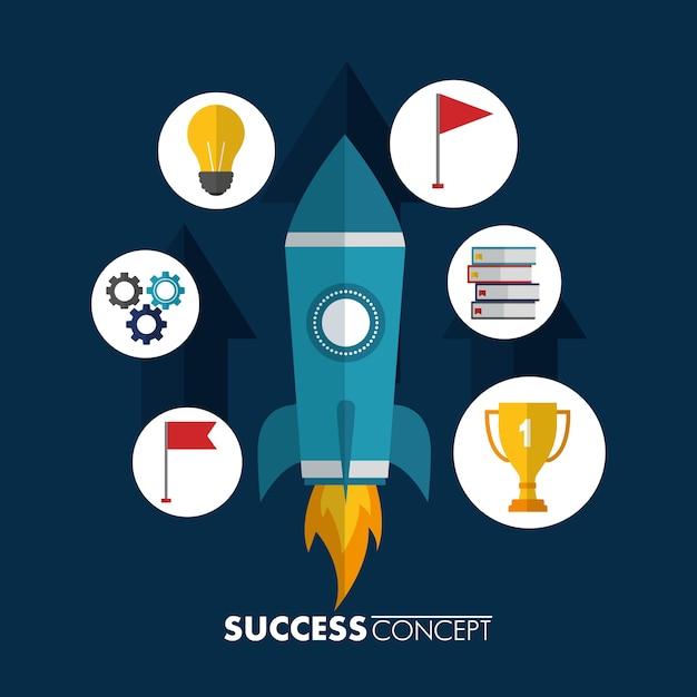 Carta del vincitore del concetto di successo Vettore Premium