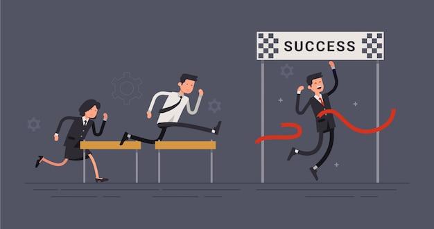 Personaggio dipendente di successo Vettore Premium
