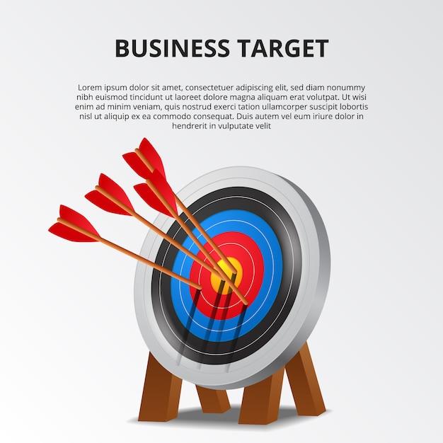 Freccia di tiro con l'arco di successo sul modello di scheda di destinazione 3d Vettore Premium