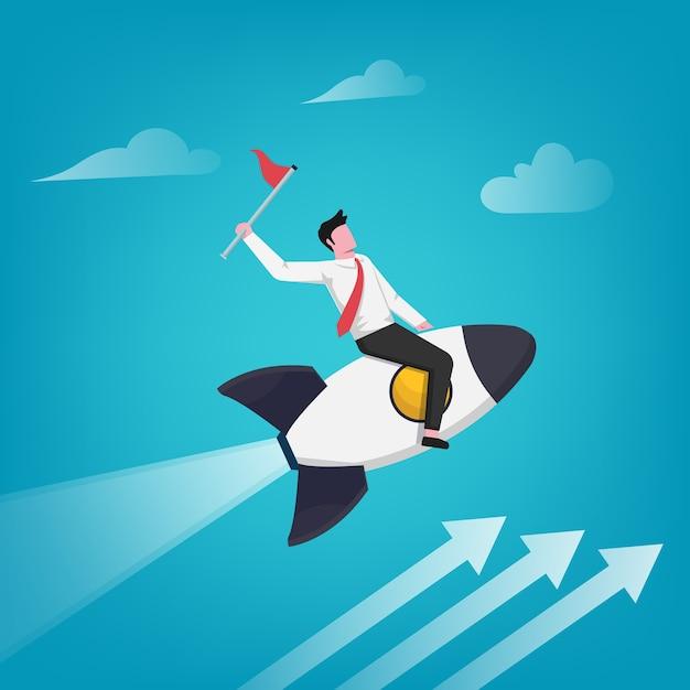 Imprenditore di successo tenendo la bandiera sul razzo illustrazione. crescita aziendale e carriera. Vettore Premium