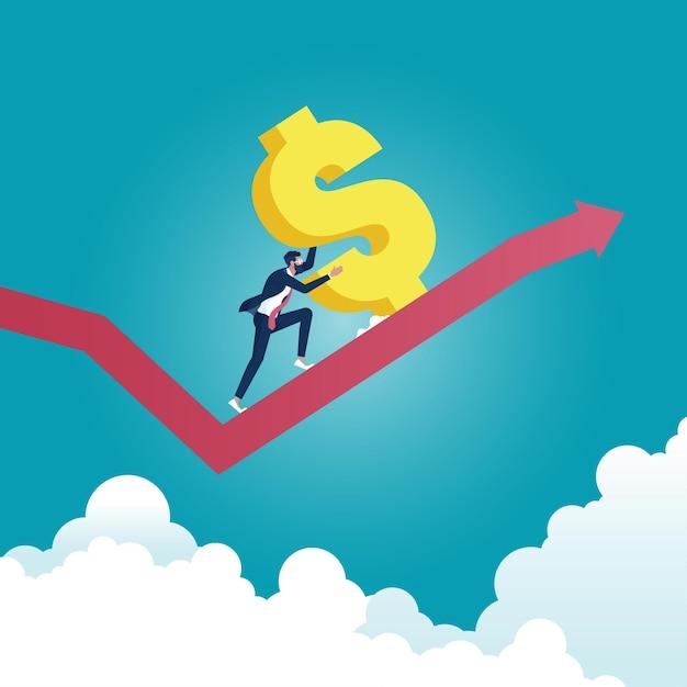 Imprenditore di successo spingendo il grande segno del dollaro fino alla freccia. ricchezza, successo finanziario, concetto. Vettore Premium