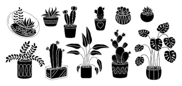 Piante grasse e pianta, set di sagoma piatta in ceramica decorativa in vaso. fiore dell'interno interno del fumetto nero di glifo. piante domestiche, vaso di fiori di monstera. illustrazione isolata Vettore Premium