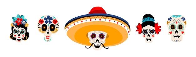 Set di illustrazioni piatte di teschi messicani di zucchero. teste di scheletro con fiori isolati su bianco. teschio con baffi in cappello sombrero. decorazione tradizionale di festa del dia de los muertos Vettore Premium