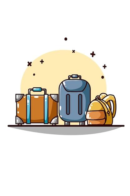 Valigia e borse per il disegno a mano da viaggio Vettore Premium
