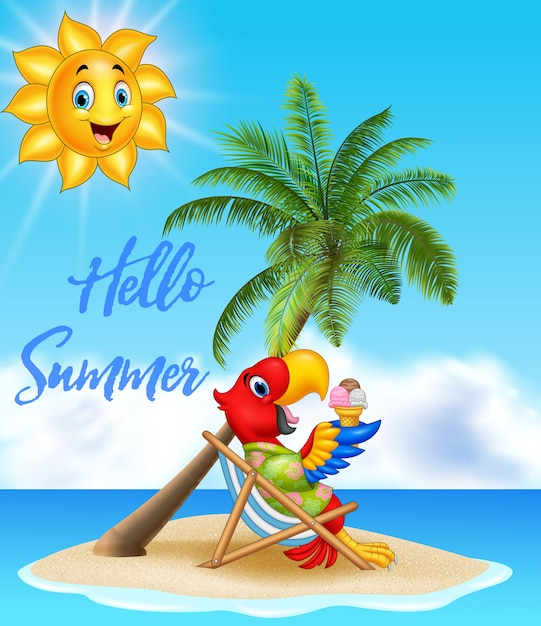 Fondo di estate con il pappagallo che mangia il gelato Vettore Premium