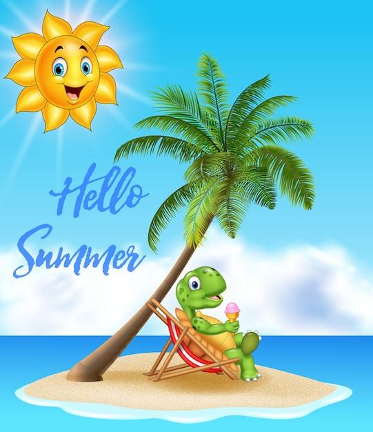 Priorità bassa di estate con la tartaruga che mangia il gelato Vettore Premium