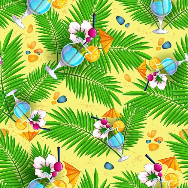 Modello di spiaggia estiva con foglie di palma e cocktail. Vettore Premium
