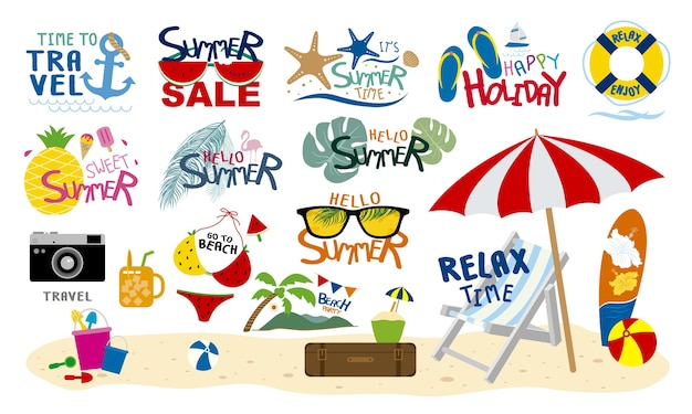Viaggio della spiaggia di estate tropicale e festa su fondo bianco Vettore Premium