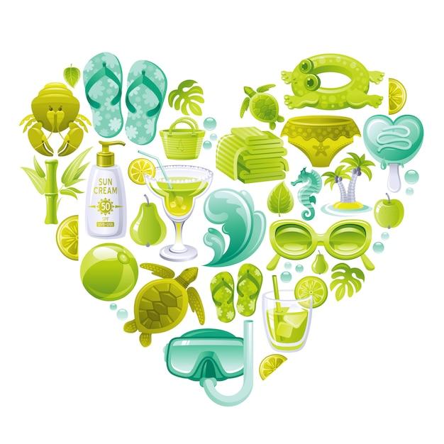 Insieme di vettore della spiaggia di estate, a forma di cuore con simboli del mare verde menta - occhiali da sole, pantofola, onda, gelato, palm island, asciugamani, palla Vettore Premium