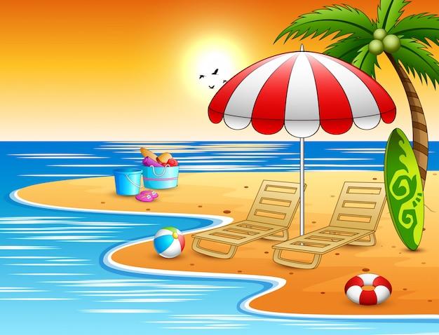 Spiaggia estiva con vacanza relax Vettore Premium