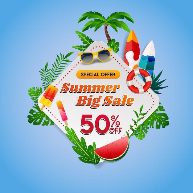 Fondo tropicale di grande vendita di estate Vettore Premium