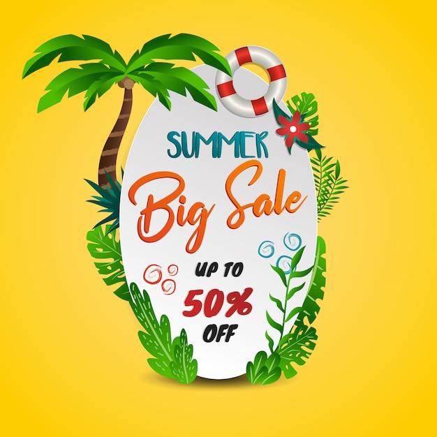 Tema tropicale di grande vendita di estate con fondo giallo Vettore Premium