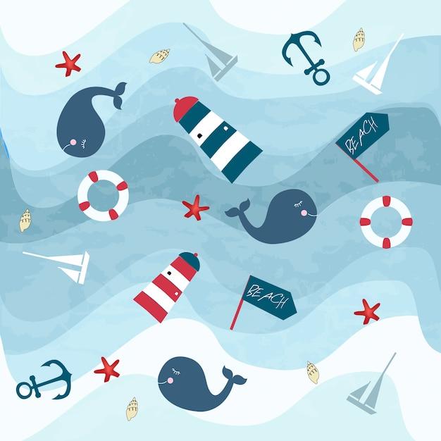 Estate blu oceano articoli e balene sott'acqua mondo Vettore Premium