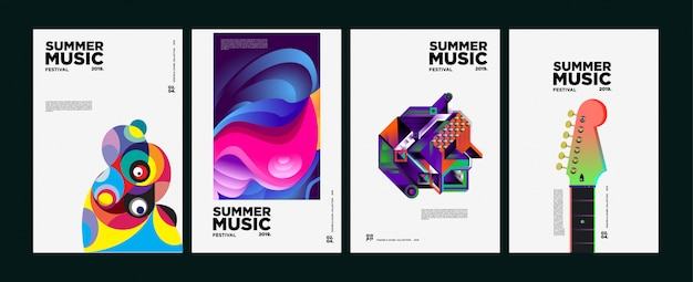 Copertina e poster del festival estivo colorato di arte e musica Vettore Premium