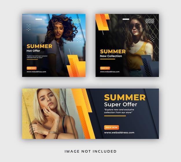 Banner web post moda estate social media vendita e modello di copertina di facebook Vettore Premium