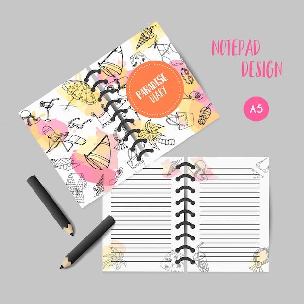 Organizzatore disegnato a mano di estate. elementi di doodle di spiaggia. Vettore Premium